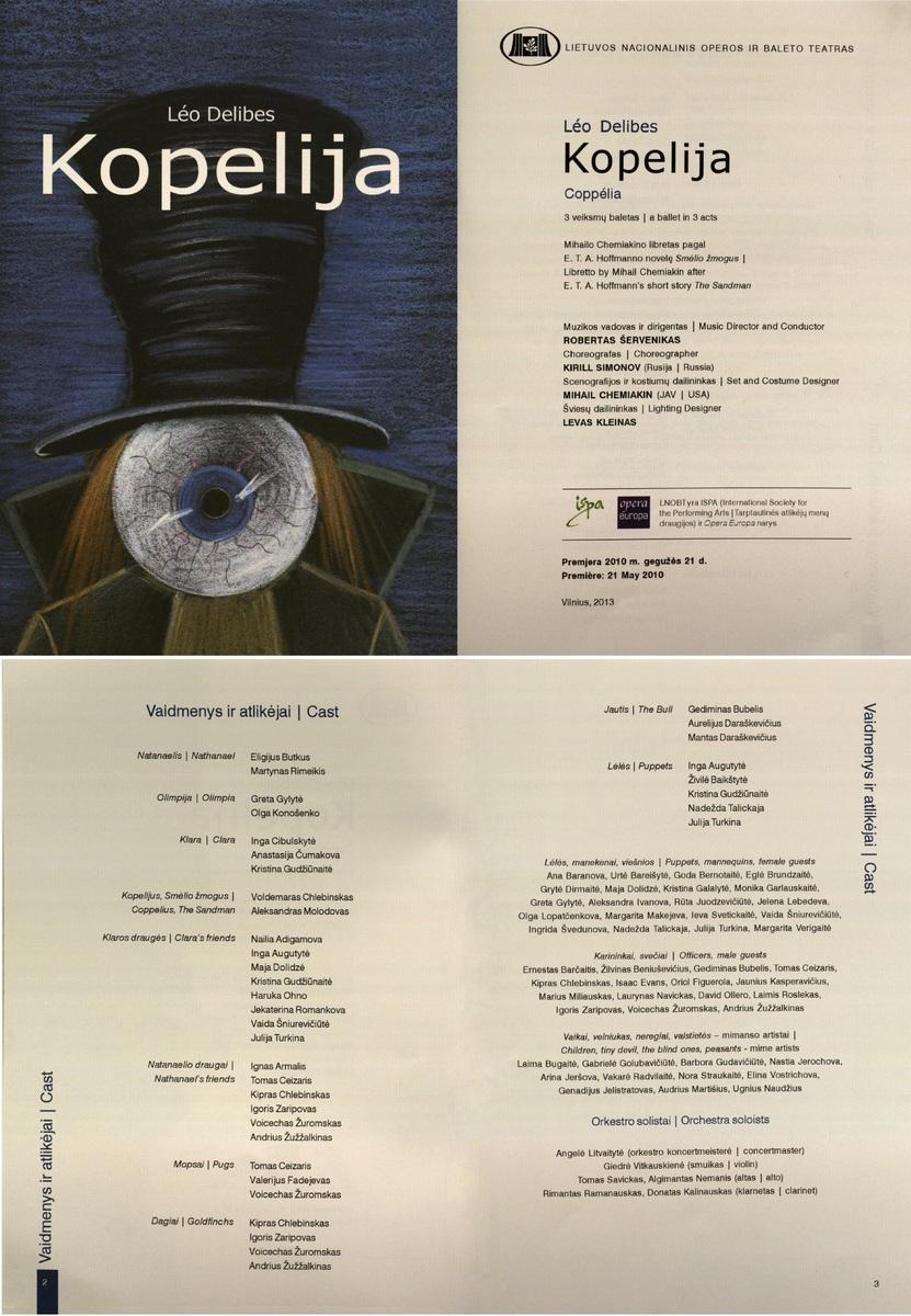Kopelija : Léo Delibes. 3 veiksmų baletas. [Programa]. 2010 m.