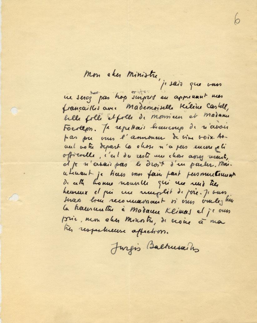 Diplomato J. Baltrušaičio laiškas P. Klimui.
