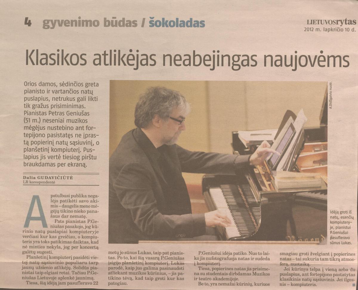 D. Gudavičiūtė. Klasikos atlikėjas neabejingas naujovėms // Lietuvos rytas, 2012.11.10, p.4