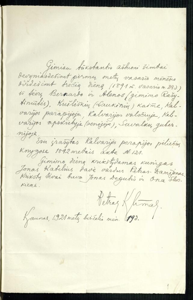 Petro Klimo autobiografija. 1921 m. birželio 19 d.