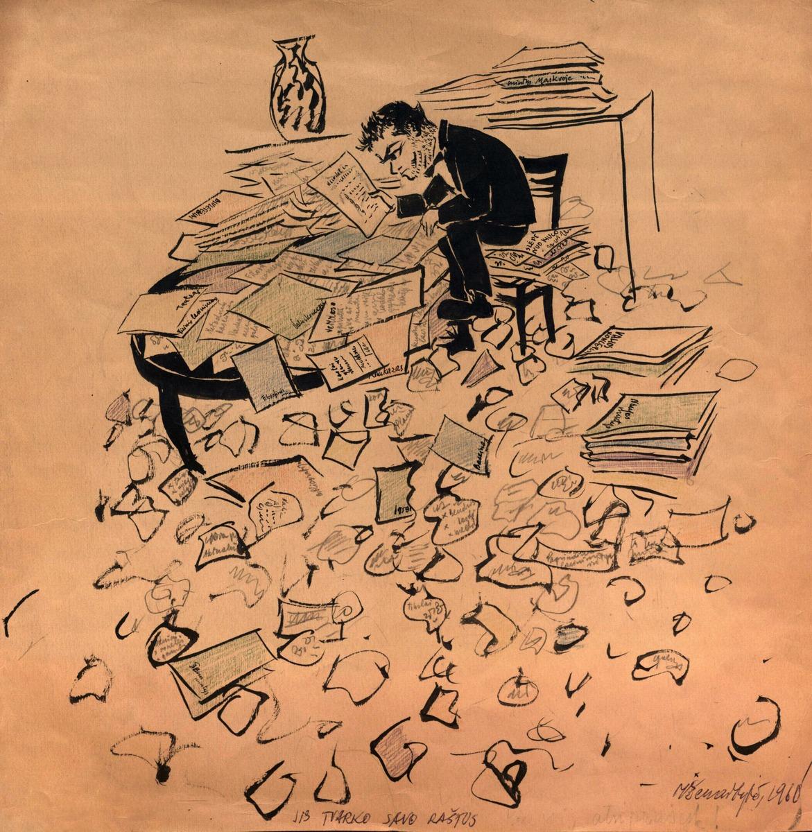 """""""Jis tvarko savo raštus"""". 1960 m."""
