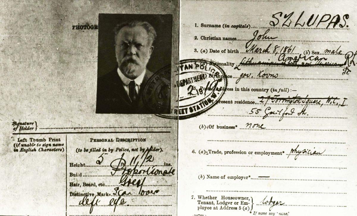 J. Šliūpo pasas (JAV). 1919 m.
