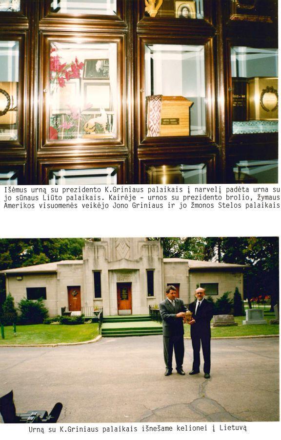 """Iš albumo """"Lietuviai Amerikoje. Prezidento K. Griniaus sugrįžimas į Lietuvą"""". 1994 m."""