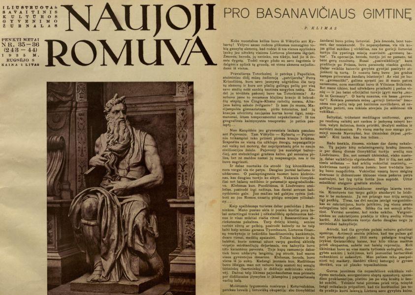 Klimas P. Pro Basanavičiaus gimtinę // Naujoji Romuva. 1935, nr. 35–36, p. 638–639.