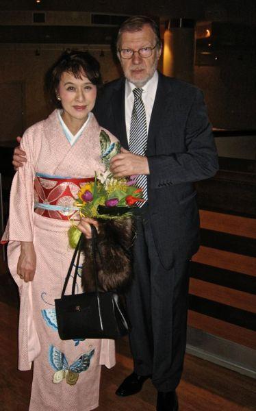 Su japonų aktore K. Kurihara. 2014 m.