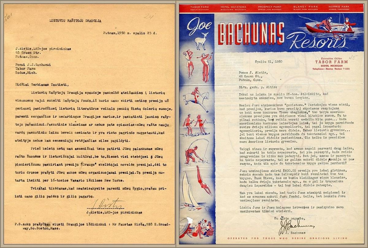 J. Aisčio laiškas J. Bachunui-Bačiūnui ir J. Bachuno-Bačiūno atsakymas jam.
