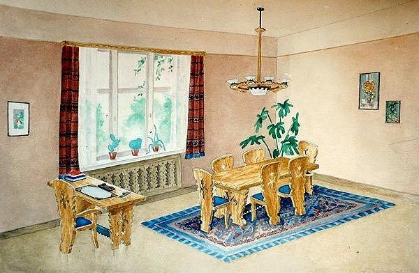 Interjero projektas. 1948. Popierius, pieštukas, akvarelė