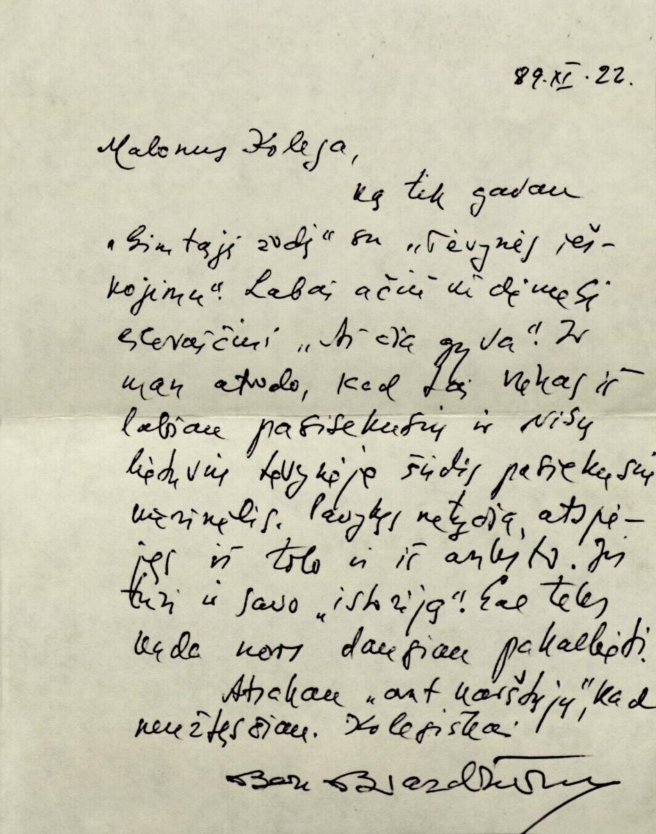 Poeto Bernardo Brazdžionio laiškas. Los Andželas. 1989.11. 22.
