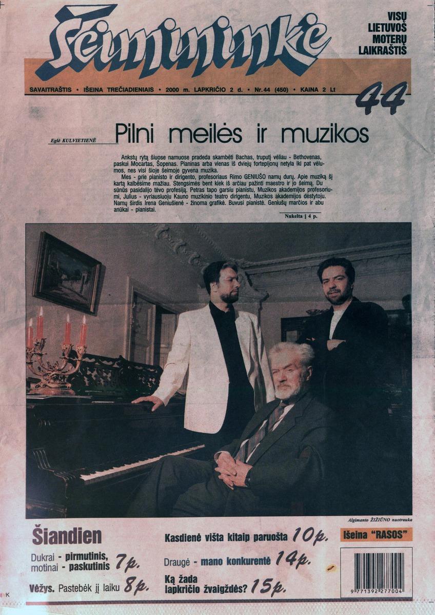 E. Kulvietienė. Pilni meilės ir muzikos // Šeimininkė, 2000, lapkričio 2 d., p.1,4.
