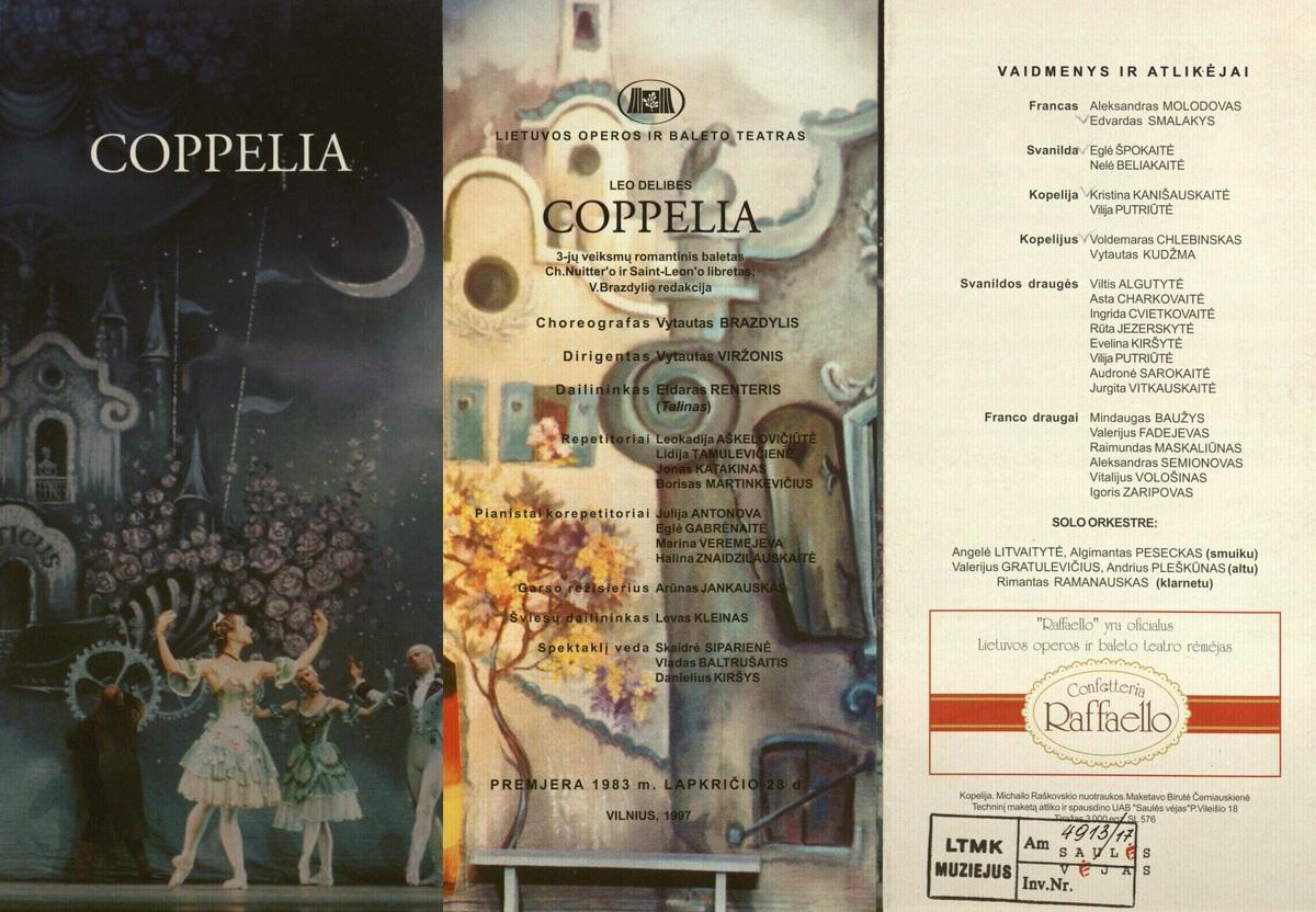 Kopelija : Léo Delibes. 3 veiksmų baletas. [Programa]. 1983 m. lapkr. 28.<br />