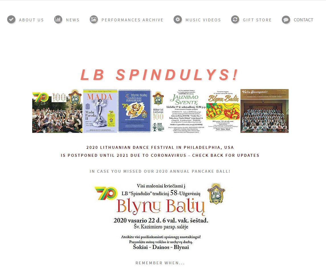 """Los Andželo lietuvių liaudies šokių ansamblio """"LB Spindulys"""" interneto svetainės titulinis puslapis, 2020 m."""