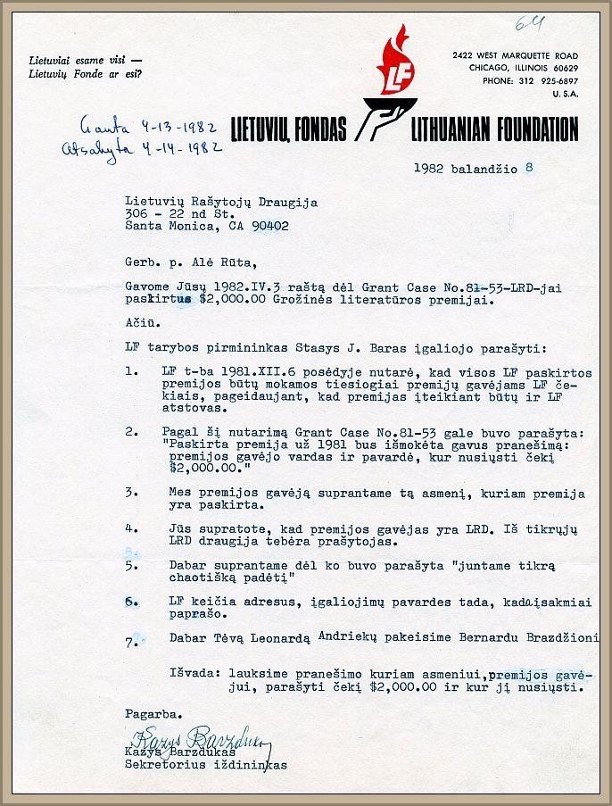 Lietuvių Fondo atstovo Kazio Barzduko laiškas LRD valdybai dėl pasikeitusių literatūrinės premijos teikimo sąlygų, 1982 m. balandžio 8 d.