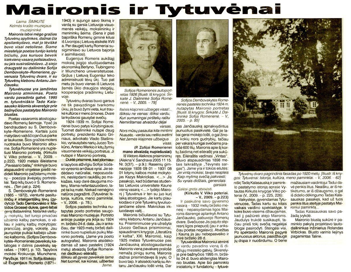 Šimkutė, L. Maironis ir Tytuvėnai // Bičiulis. 2012, spal. 24, p. 4.<br />