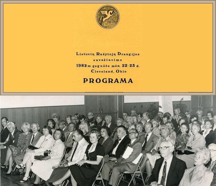 1982 metų LRD visuotinio narių suvažiavimo programos viršelis. <br /> LRD visuotinio narių suvažiavimo Literatūros vakaro dalyviai. Vlado Bacevičiaus nuotr.<br />