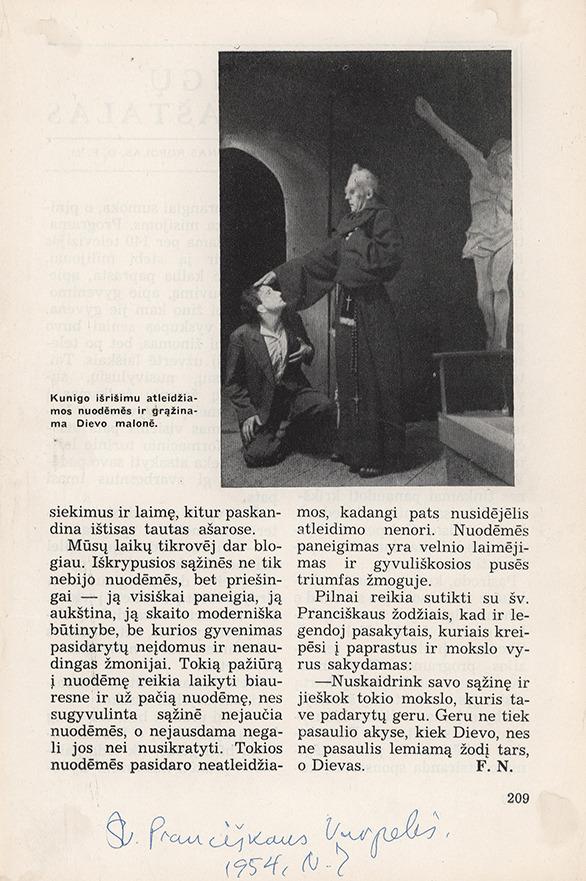 """Adolfas Mekas ir Ipolitas Tvirbutas Maurice Rostand`o dramos """"Žmogus, kurį užmušiau"""" pagrindiniuose vaidmenyse.  Kassel/Mattenberg D. P. stovyklos Dramos kolektyvo pastatyme, rež. Ipolitas Tvirbutas. 1948 m. Puslapis iš išeivijoje leisto žurnalo (neidentifikuotas), <br />"""