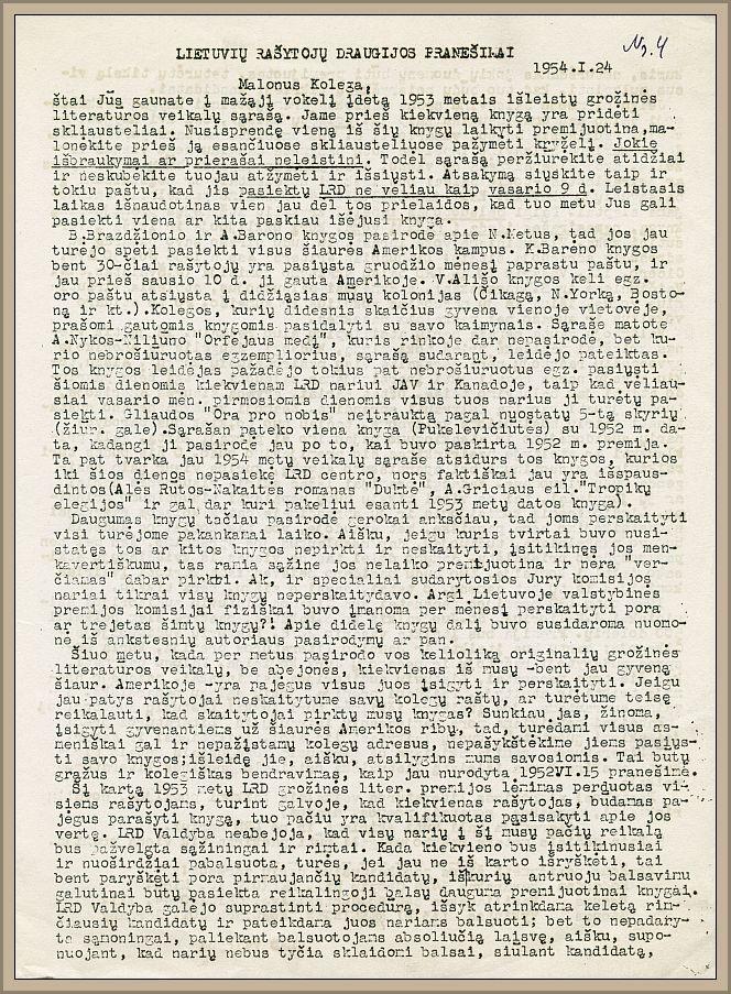 LRD biuletenio, pradėto leisti draugijai vadovaujant B. Babrauskui, ketvirtasis numeris, 1954 metai.
