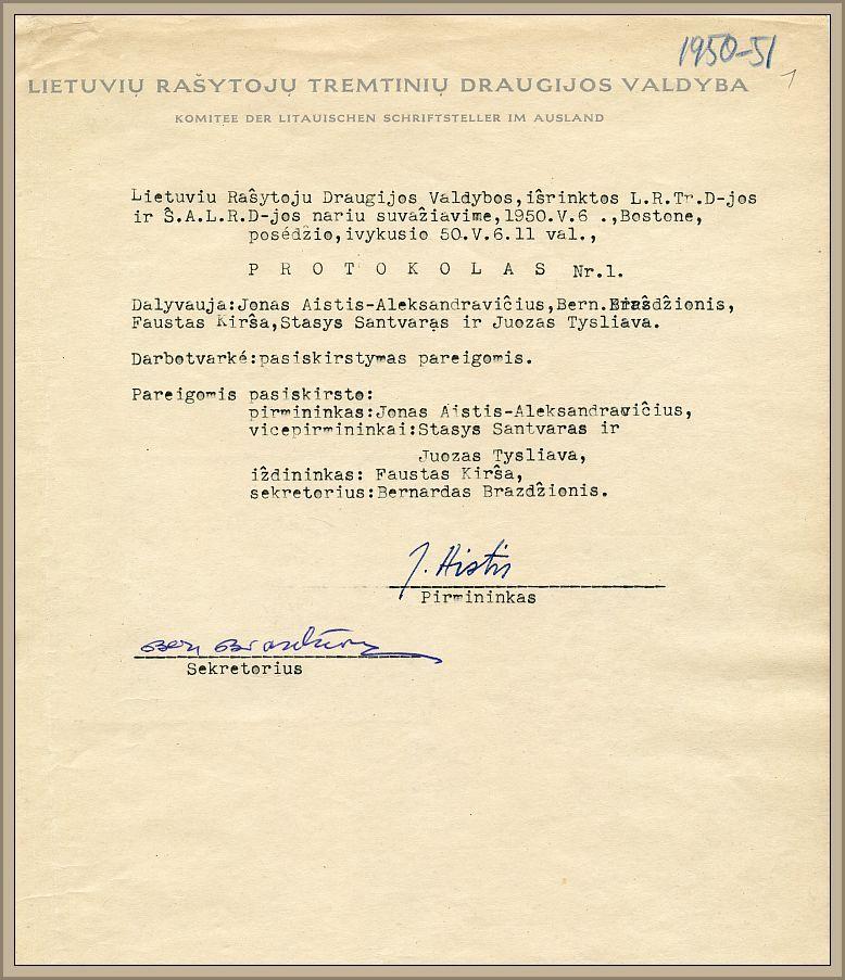 Lietuvių rašytojų draugijos posėdžio, vykusio 1950 m. gegužės 6 d. Bostone, protokolas.