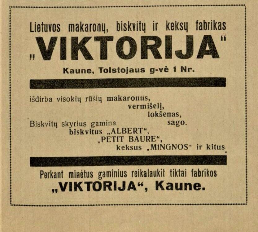 """Lietuvos makaronų, biskvitų ir keksų  fabrikas """"Viktorija"""""""