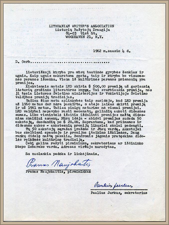 P. Naujokaičio laiškas 50 numatytų aukotojų.