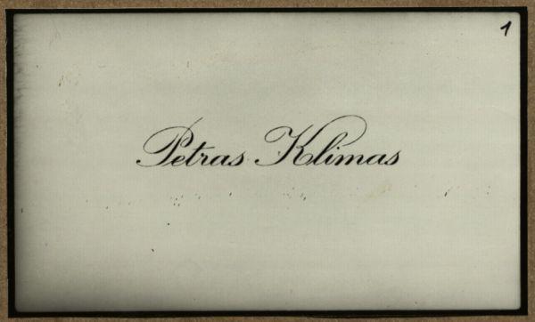 P. Klimo vizitinė kortelė, įteikta M. Dobužinskiui.