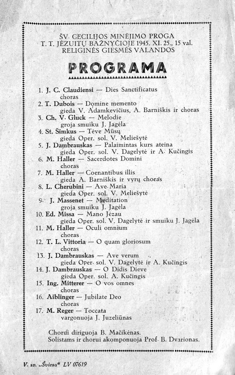 Juliaus Juzeliūno koncerto Kauno Jėzuitų bažnyčioje programa, 1945-ųjų lapkričio 25 d.