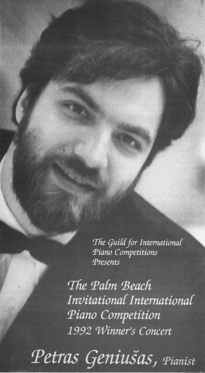 Palm Beach tarptautinio pianistų konkurso (1992 m.) laureato rečitalio programa. Vilnius, 2001 m.