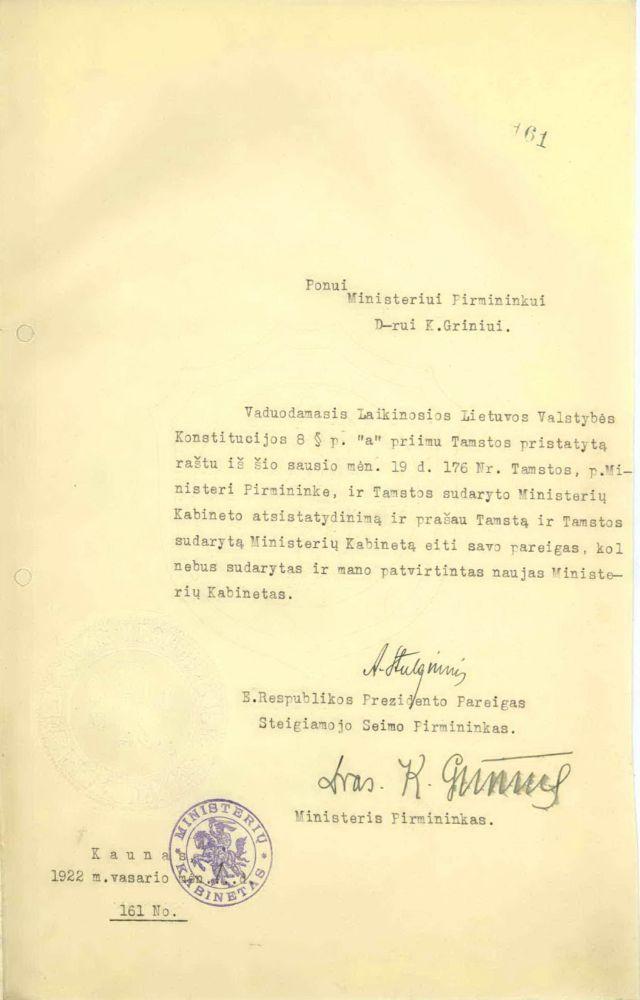 Prezidento A. Stulginskio laiškas Ministrui Pirmininkui dr. K. Griniui. Kaunas, 1922 m. vasario 1 d.