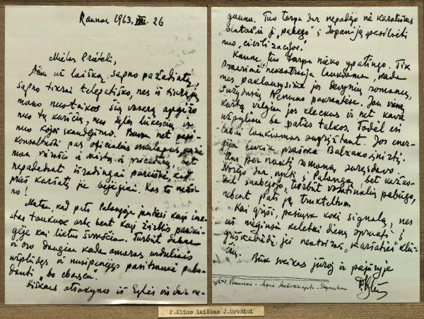 P. Klimo laiškas Lietuvos Užsienio reikalų ministrui J. Urbšiui. 1963 m.