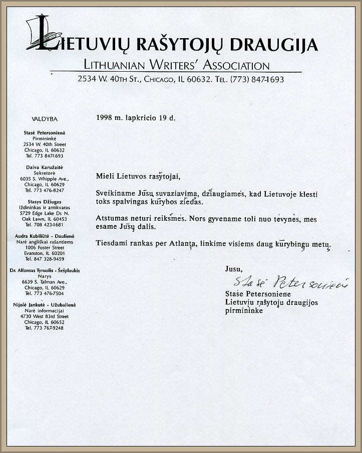 S. Petersonienės sveikinimo laiškas LRS, 1998 m. lapkričio 19 d.
