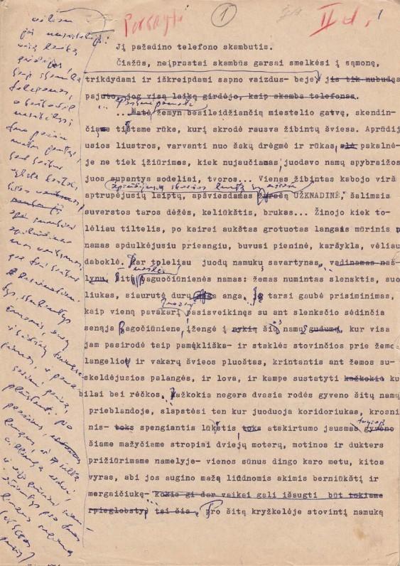 """B. Radzevičiaus romano """"Priešaušrio vieškeliai"""" (II dalies pradžios) fragmentas. Mašinraštis. 1980 m."""