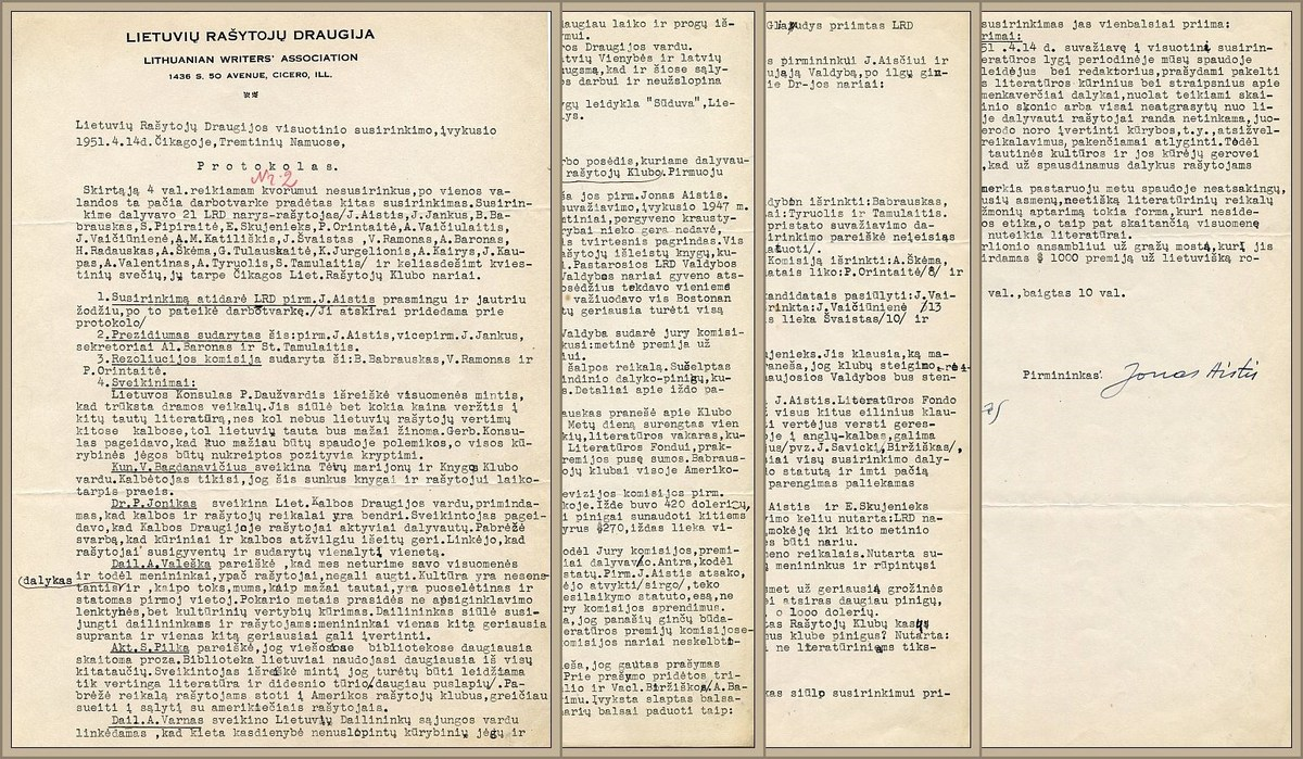 1951 m. balandžio 14 d. Čikagoje vykusio LRD visuotinio susirinkimo protokolas.