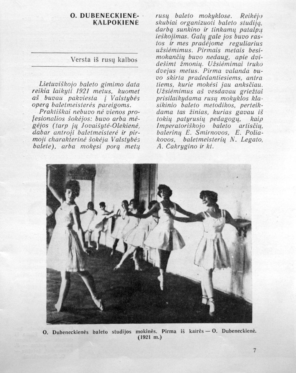 Dubeneckienė - Kalpokienė O.<em>Lietuviškojo baleto gimimo data...</em> // Teatras. - 1975, Nr. 4, p. 7-11