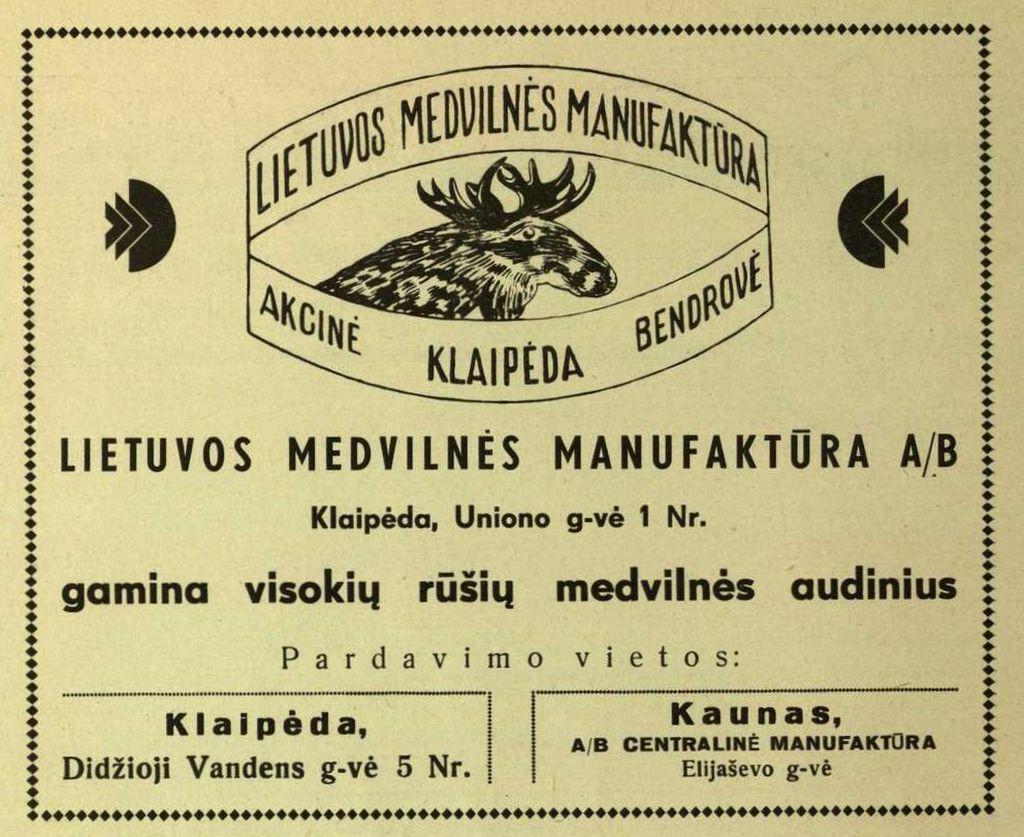 """""""Lietuvos medvilnės manufaktūra gamina visokių rūšių medvilnės audinius..."""""""