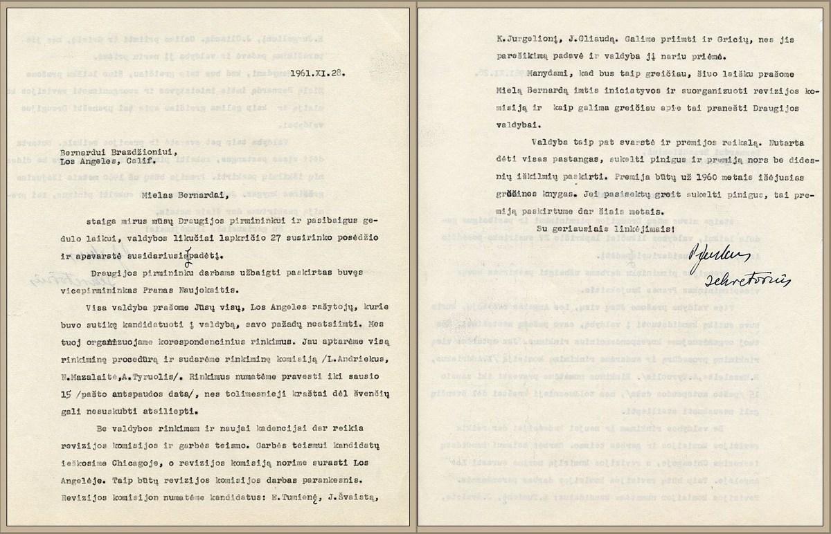 Naujojo LRD pirmininko laiškas B. Brazdžioniui, 1961 m. lapkričio 28 d.