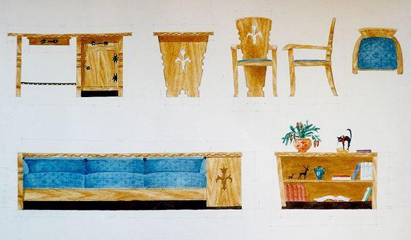 Baldų projektas. 1949.  Popierius, pieštukas, akvarelė