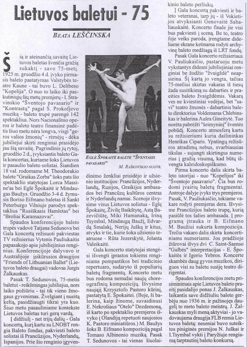 Leščinska B. Lietuvos baletui -75 // 7 meno dienos. 2000 gruodžio 1d.