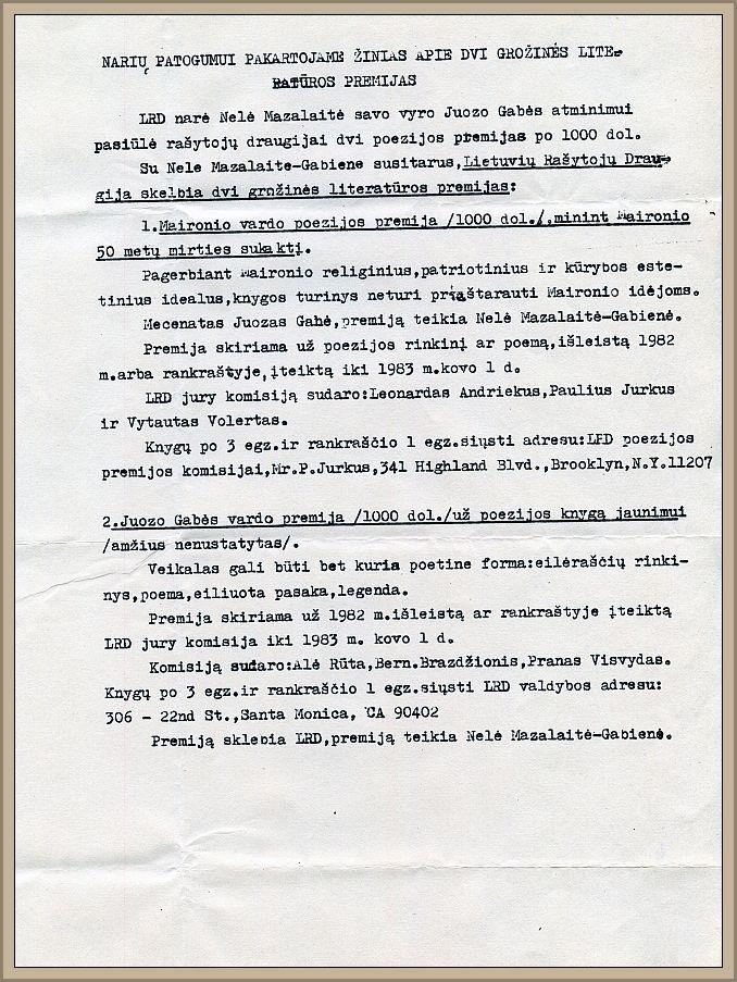 LRD valdybos pranešimas apie dvi naujas Juozo Gabės atminimui įsteigtas literatūros premijas.