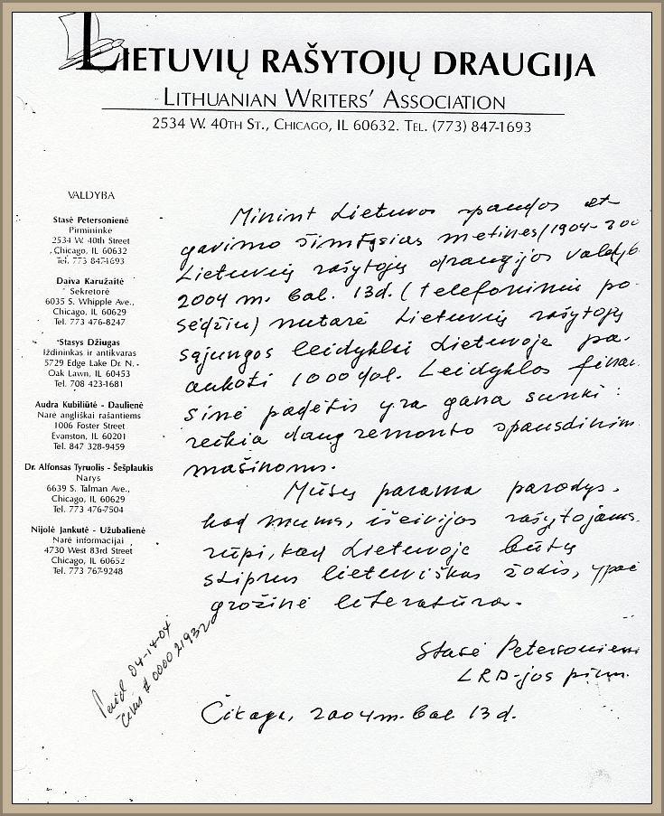 S. Petersonienės laiškas, pranešantis apie LRD skiriamą 1 000 JAV dol. auką LRS leidyklai.