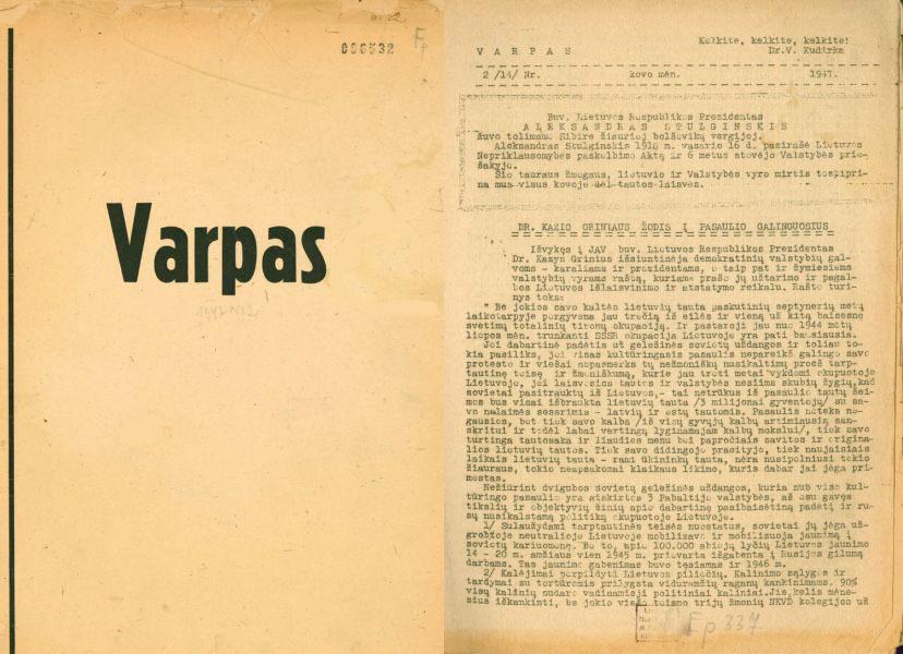 Dr. K. Griniaus žodis į pasaulio galinguosius // Varpas. 1947, nr. 2, p. 1–3.