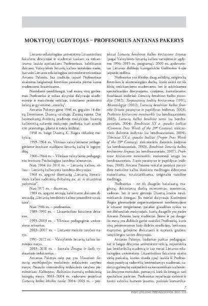 Steiblienė D. Mokytojų ugdytojas – profesorius Antanas Pakerys // Pedagogika. 2013, t. 110, p. 7–11.