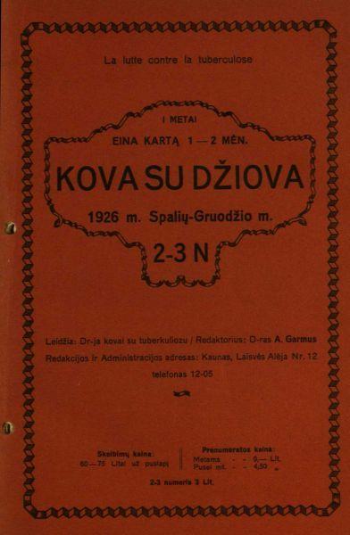 Grinius K. Ar džiova pergalima yra // Kova su džiova. 1926, nr. 2–3, p. 4–7.