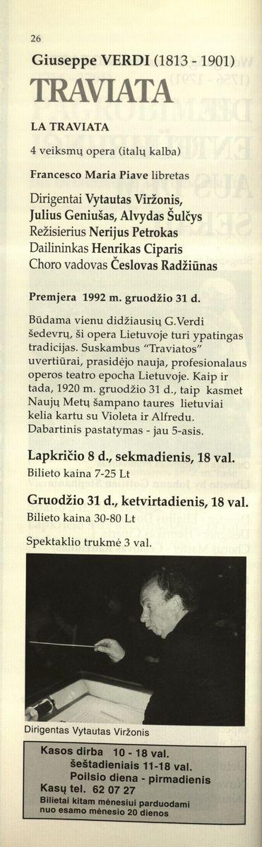 Lietuvos operos ir baleto teatras : 1998 m. rugsėjo 18-gruodžio 31 d.