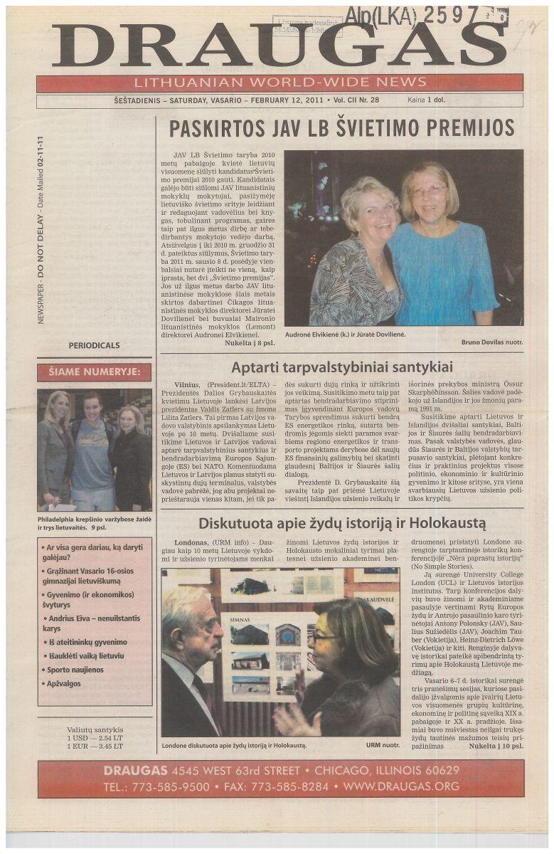 """Sulaukęs 102 metų, """"Draugas"""" išleistas spalvotu viršeliu. """"Naujas """"Draugas"""" – jau ne ubagas"""", – taip į naujovę reagavo vienas iš laikraščio skaitytojų. """"Draugas"""", 2011 m. vasario 12 d."""