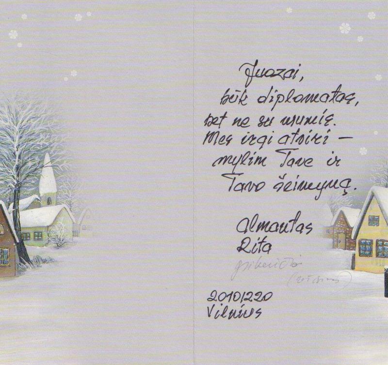 Kino režisieriaus Almanto Grikevičiaus ir jo žmonos Ritos sveikinimas Juozui Budraičiui Naujųjų Metų proga. 2010 m. gruodžio 20 d.