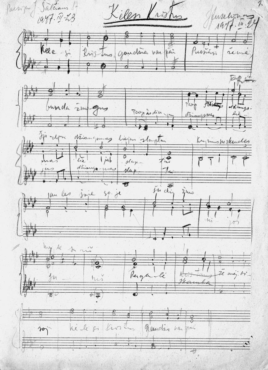 """Juliaus Juzeliūno bažnytinės muzikos pavyzdys - giesmė chorui """"Kėlėsi Kristus"""", 1974 m."""