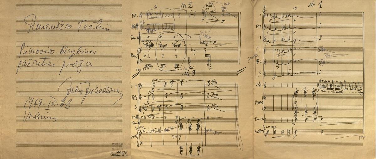 """J. Juzeliūno """"Muzikinio signalo"""" Panevėžio Dramos teatrui rankraštis, 1969 m."""
