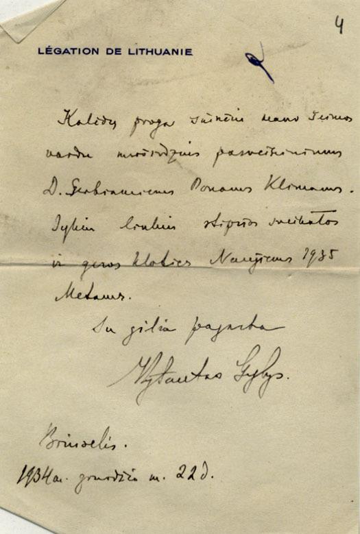 Lietuvos laikinojo reikalų patikėtinio Belgijoje V. Gylio laiškas-sveikinimas P. Klimui. 1934 m., Briuselis.