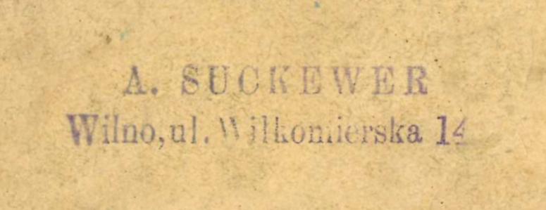 A. Suckeverio spaudas su jo paskutinių vilnietišku adresu