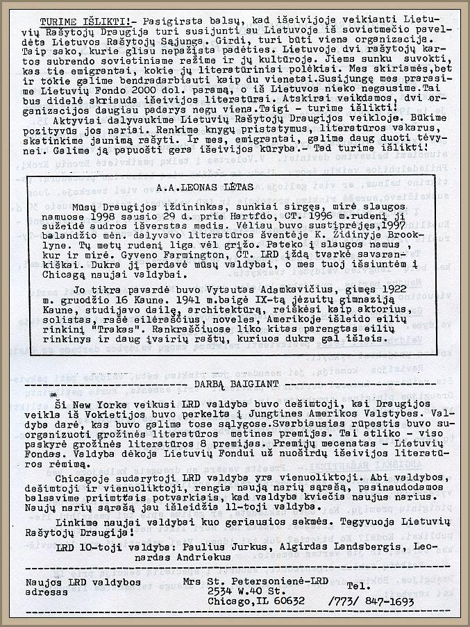Ištrauka iš P. Jurkaus valdybos parengto paskutiniojo aplinkraščio (nr. 3, 1998 m. balandžio 1 d.).