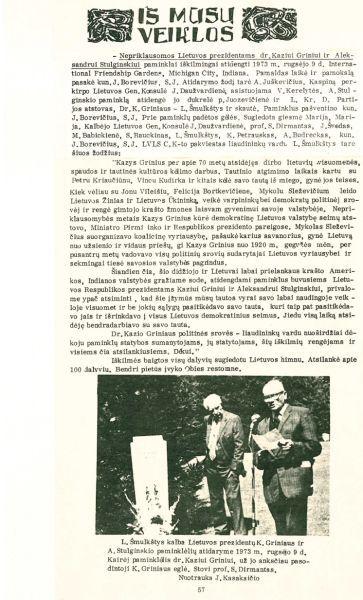 """""""Nepriklausomos Lietuvos prezidentams dr. K. Griniui ir Aleksandrui Stulginskiui paminklai iškilmingai atidengti 1973 m. rugsėjo 9 d…."""" // Sėja. 1973, nr. 3, p. 56–57."""